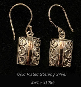 earring - gold/silver - rect small - sterling silver
