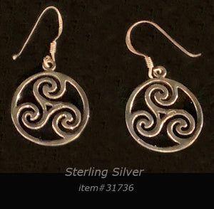 earring - 3 wave round - sterling silver