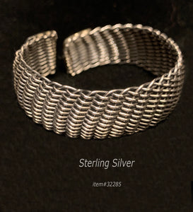 bangle -mesh weave - sterling silver