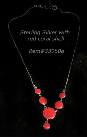 necklace - 6 shell stone - red coral (harvested) - sterling silver