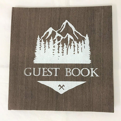 guest book - mountain - brown/white