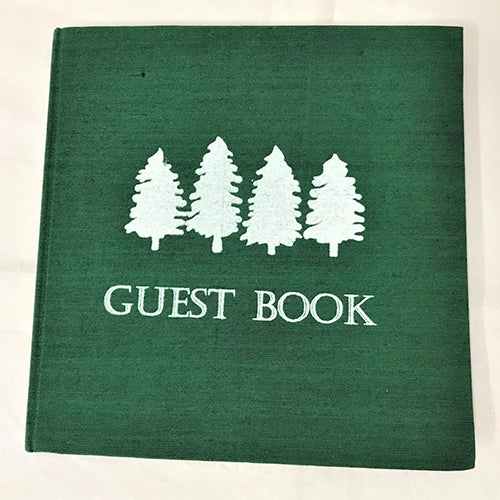 guest book - trees - green/white