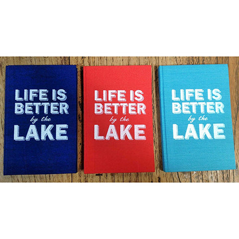 notebook - 'life is better by the lake' - bright turquoise