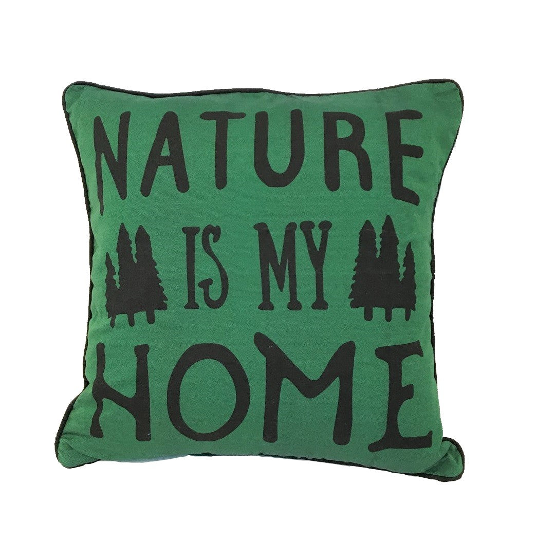 cushion - nature is my home - dark green - 40cm