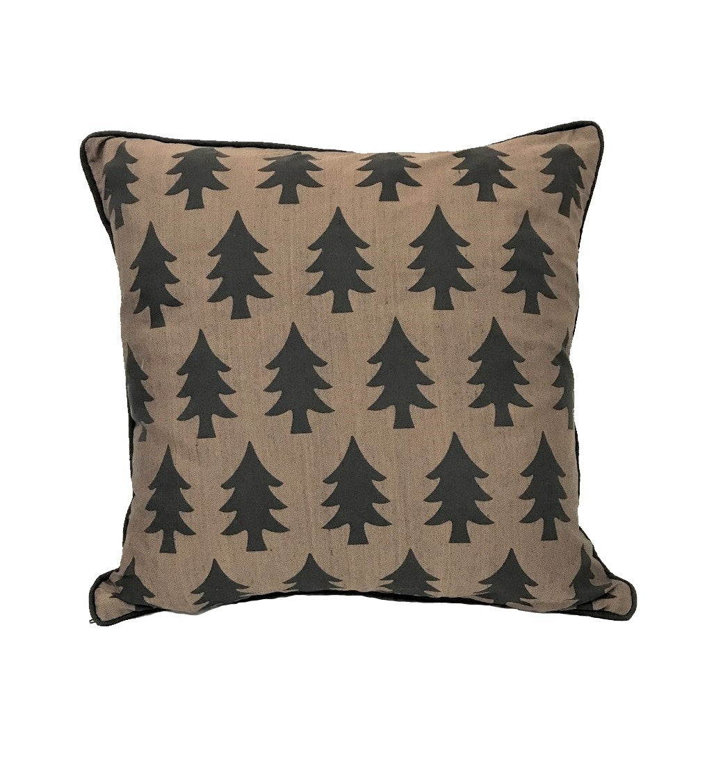 cushion - evergreen trees - brown/black 40cm