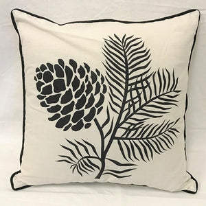 cushion - single pinecone calico/black - 40cm