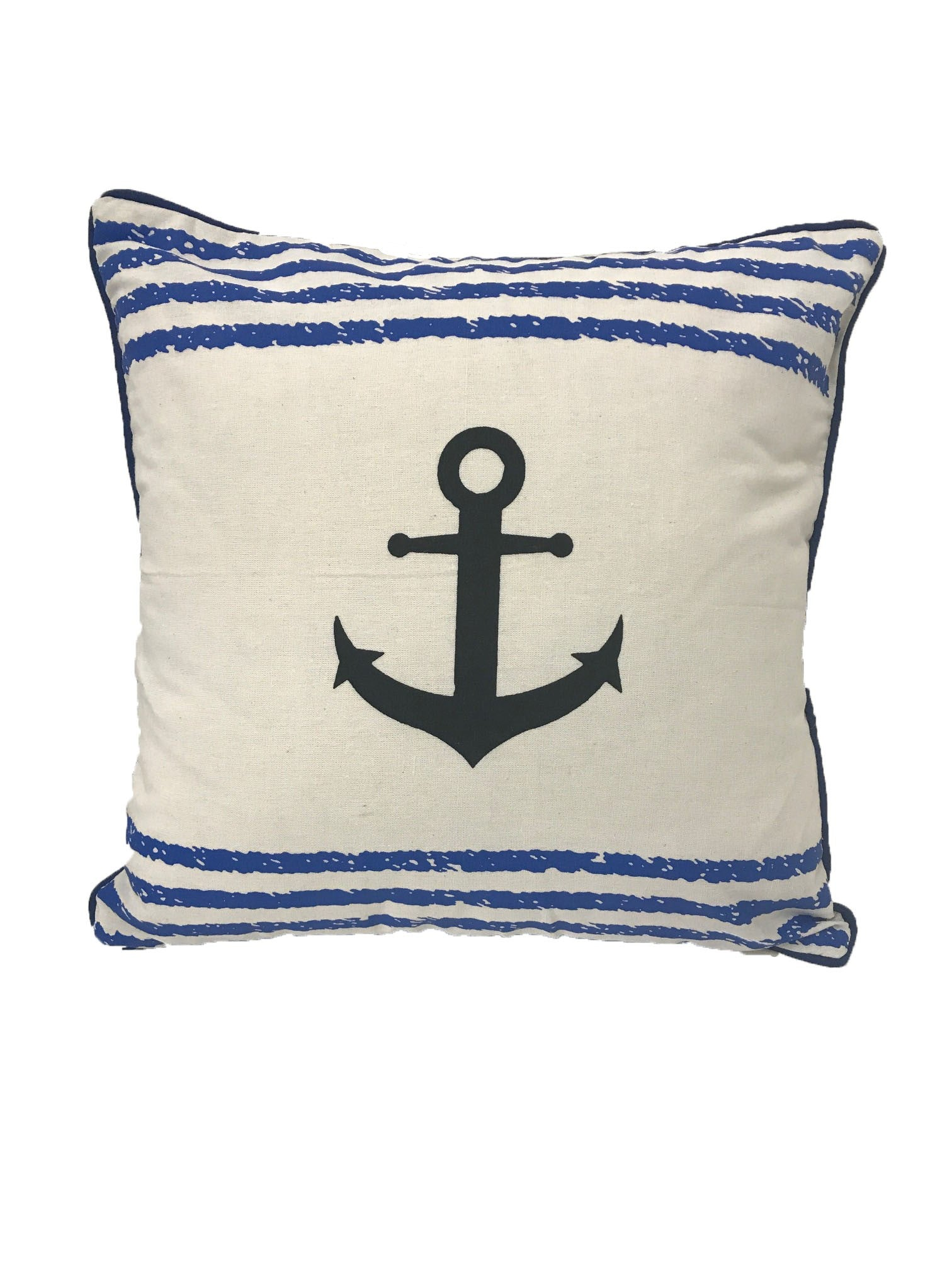 cushion - anchor - blue stripes - 40cm - COMPLETE