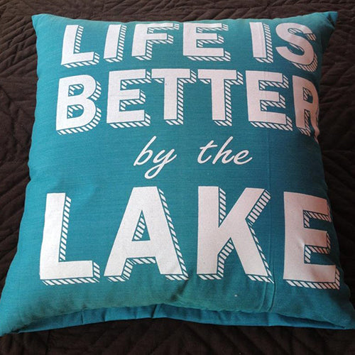 cushion - 'life is better by the lake' - turquoise - 40cm - complete w/ cushion