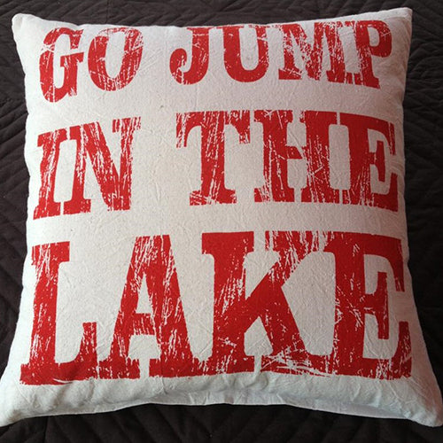 cushion - 'go jump in the lake' - calico w/ red print antique - 40cm - complete w/ cushion
