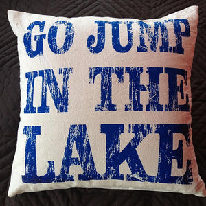 cushion - 'go jump in the lake' - calico w/ royal blue print antique - 40cm- complete w/cushion