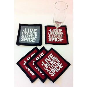 "SET OF 4 ""Live Life With a Little Spice"" Coasters"