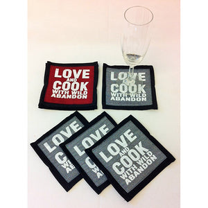 "SET OF 4 ""Love & Cook With Wild Abandon"" Coasters"