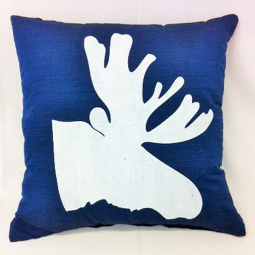 cushion - Moose Head - dark blue 40 cm squared