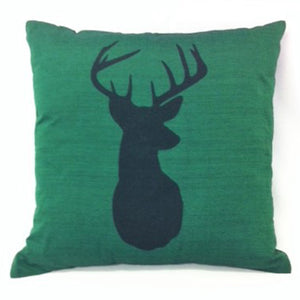 cushion - Deer Head with neck - dark green 40 cm squared