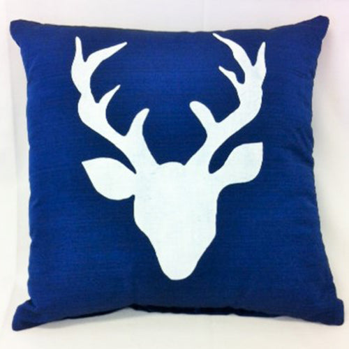 cushion - Deer Head - dark blue 40 cm squared