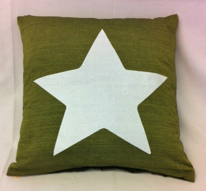 cushion - Star - olive green 40 cm squared