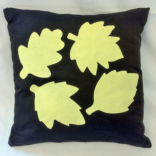 cushion - Leaves - chocolate brown 40 cm squared