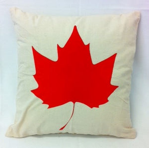 cushion - Maple Leaf - cream with red leaf 40 cm squared