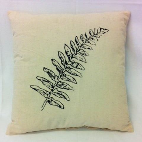 cushion - Fern Leaf - cream 40 cm squared
