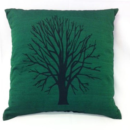 cushion - Bare Tree - dark green 40 cm squared