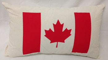 cushion - Canadian flag - rectangle - red on white- 30x50cm - COMPLETE