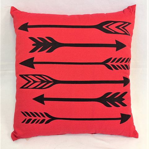 cushion - 6 arrows - black on red -  40x40 - complete