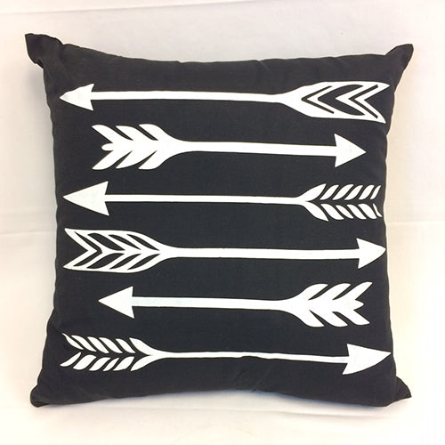 cushion - 6 arrows - white on black -  40x40 - complete