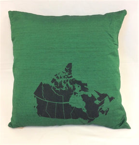 cushion - Canada Map - emerald green w/ black map - 40cm - COMPLETE