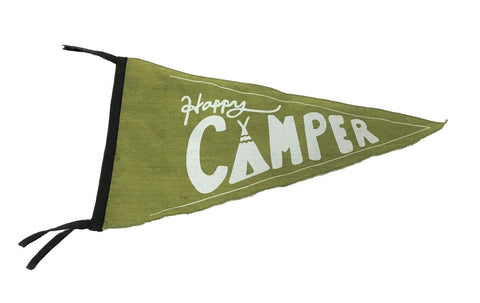 flag - pennant - happy camper - green - 40x40x22
