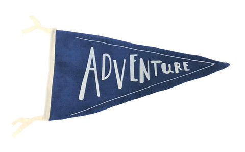flag - pennant - adventure - dark blue - 40x40x22