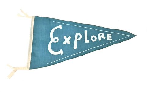 flag - pennant - explore - turquoise - 40x40x22
