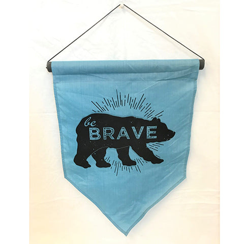 flag - be brave (bear) - turquoise/black - 50x35
