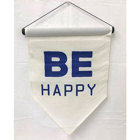 flag - be happy - calico/turqouise - 50x35