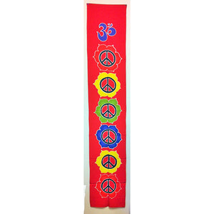 banner - peace - red - handpainted batik - 36x180