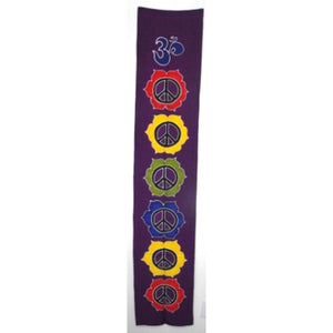 banner - peace - purple - handpainted batik - 36x180
