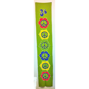 banner - peace - green - handpainted batik - 36x180