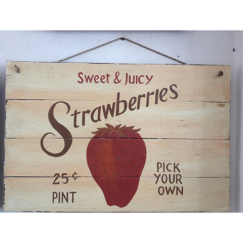 wooden sign - strawberries - pick your own - 40x60cm