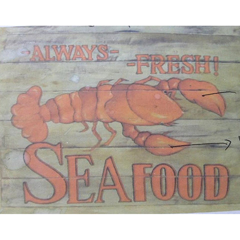 wooden sign - always fresh seafood - 40x60