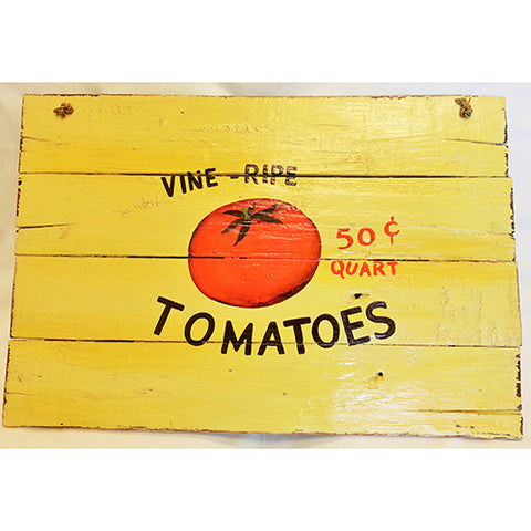 wooden sign - vine ripe tomatoes - 40x60cm