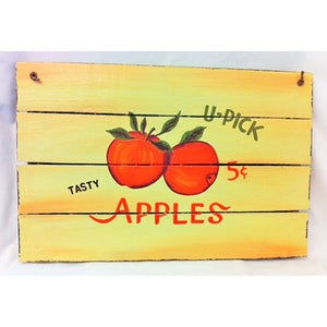 wooden sign - tasty apples - 40x60
