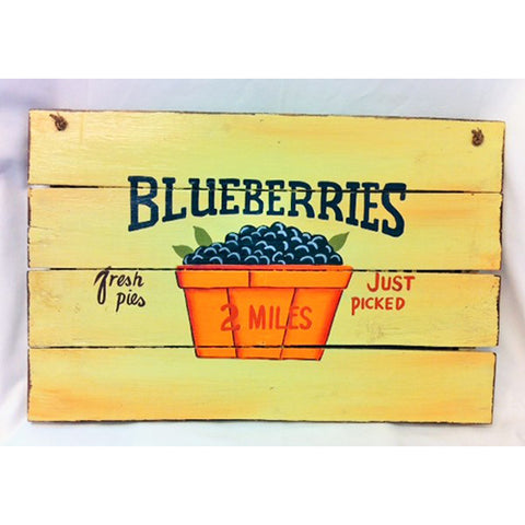 wooden sign - blueberries -40x60cm