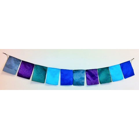 string of flags - square - 2m - grey, purple, emerald green , turquoise, royal blue