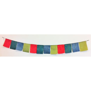 string of flags - square - 2m - red, emerald green, grey, olive green