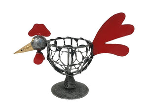 rooster - egg holder - woven iron - black/silver - 16cm