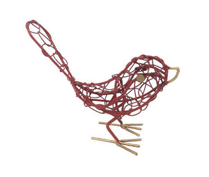 bird - iron - red - mini - woven - tail up - 10x15cm