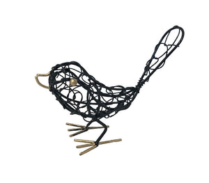 bird - iron - black - mini - woven - tail up - 10x15cm