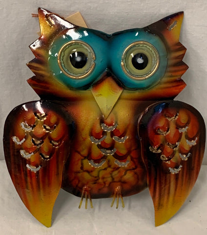 owl - small - iron - 12cm - blue/green