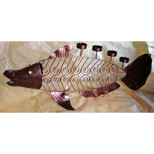 candle holder - fish skeleton - 4 t light holder - copper