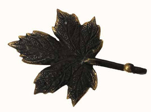 hanger - maple leaf - 1 hook - bronze - brown