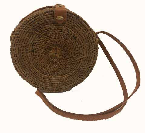 bag - rattan woven - round - 20cm - celtic knot motif -  leather handle